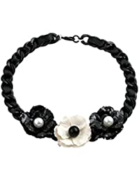 TBOP NECKLACE THE BEST OF PLANET Simple And Stylish Jewelry Black And White Pearl Flowers Coarse Chain Flower...