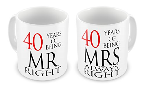 Paar Mr Right & Mrs Always Right Anniversary (40. Ruby) Neuheit Geschenk Tassen
