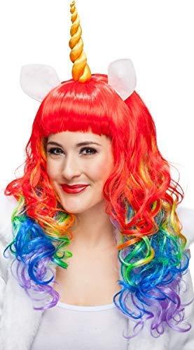 Damen Lang Regenbogen Einhorn + Hupe Leuchtend Pride Karneval Halloween Kostüm Kleid Outfit ()