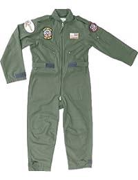 Top Gun Kinder Piloten Flieger-anzug - Grün, Jungen, XS