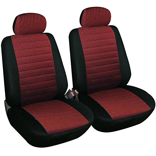 Woltu 7233-2-b Coprisedili Anteriori Universali per Auto Seat Cover Protezione per Sedile di Poliestere Nero+Rosso