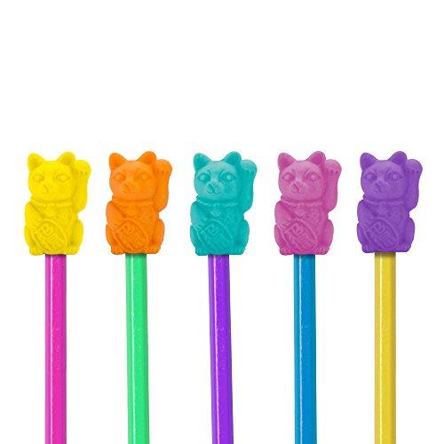 MUSTARD - Lucky Cat Eraser Toppers I Radierer Set I Kinder Radiergummi I Schule I bunt I lustige Radiergummis I Bleistifft Radiergummis zum Aufstecken I Kindergeburtstag Mitgebsel I Katzen - 12er Pack