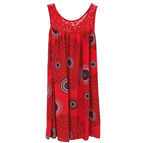 HULKY Vendita Donne Plissettato Serbatoio Abiti丨Estate Casuale Pizzo Patchwork Stampa Floreale Vestito丨Sleeveless Sciolto Pianura Vestito per Le Donne(Rosso,Medium)