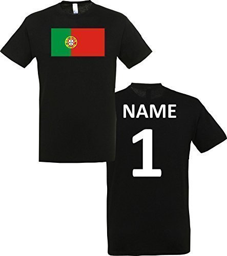 Uni T-Shirt Portugal Ländershirt mit Wunschnamen und Nummer, Farbe schwarz, Größe XL