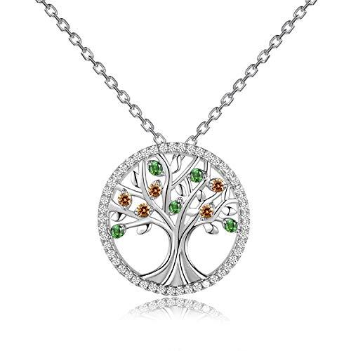 YANGLAN Baum des Lebens Halskette Runde wachsenden Baum Hoffnung Baum Anhänger romantischen Schmuck Geschenk für sie