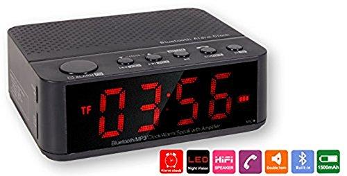Wecker mit FM-Radio mit Bluetooth, Speaker, LED. Schwarz -