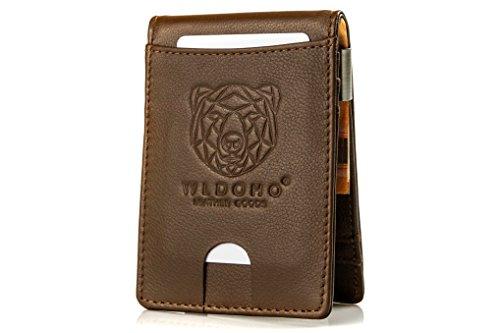 WLDOHO Männer Kreditkartenetui mit Geldklammer und Münzfach aus Leder    BOAN    fc2dda0249
