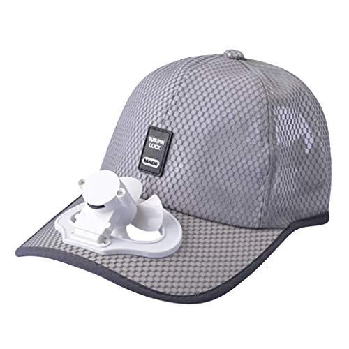 YWLINK Sommer AbküHlen Lassen Sport Mini Fan Caps Herren Atmungsaktiv Camping Fauler Fan Unisex Sonnenhut Ventilator Baseballkappe Damen Usb Aufladen Ventilator HüTe