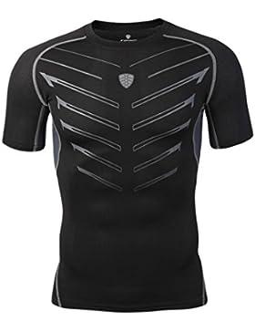 Hiroo Uomo Camicia T-shirt Maglia a Manica Corta leggera e attillata/Sport Baselayer Asciugatura Rapida T-shirt...