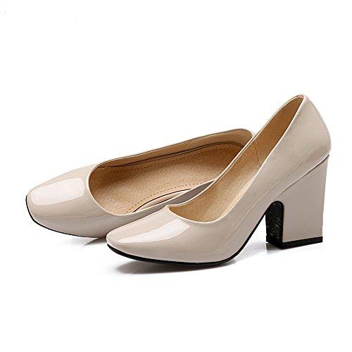 AgooLar Damen Pu Leder Hoher Absatz Quadratisch Zehe Rein Ziehen Auf Pumps Schuhe Aprikosen Farbe