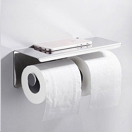 304 Edelstahl Badezimmer Papier Halter Rack Wand Doppelrolle Toiletten Papier handtuchhalter mit Handy Lagerung Regal Silber (Wand Brillen-halter)