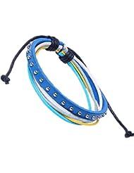 &ZHOU pulseras,3pcs, pulsera de cuero remache, pulsera de cera cuerda de múltiples capas, joyería, pulsera creativa, regalos creativos , blue