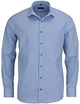ETERNA Modern Fit Hemd extra kurzer Arm Muster hellblau AL 59