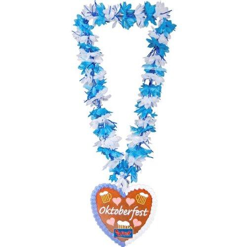 1 Blumenkette * OKTOBERFEST * mit Blumen in blau und weiß // mit Herzen und Bierkrügen // Wiesn Hawaii (Kostüm Lebkuchen)