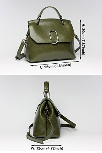 SAIERLONG Nuovo Donna Army Green Vera Pelle Borse Tracolle Army Green