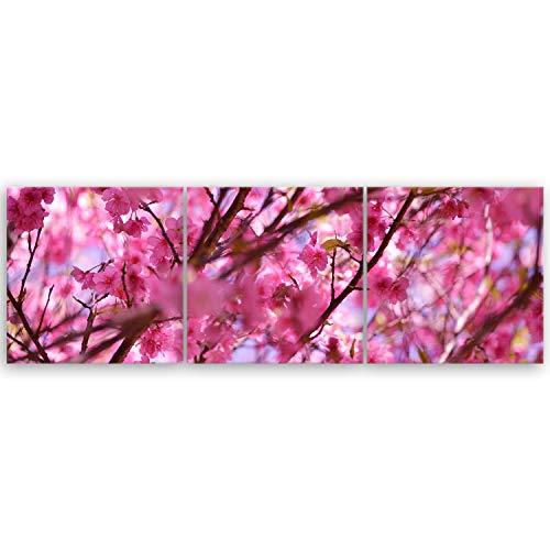 GE de crea® alta calidad Lienzo–Japonés de flores de cerezo, 120 x 40 cm 3 tlg.