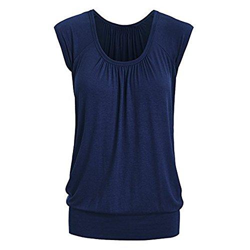 Cool-plus-gestreiften Polo (Overdose Frauen Plus Größe Lose V-Ausschnitt Kurzarm Solid Farbe Tops Plissee Bluse T-Shirt Damen Sommer Tops Oberteile (XL, X-Blue))