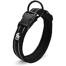 Reflectante Collar de Seguridad Llenado de Malla transpirable y suave Collar Ajustable de Perros con Anillo, Negro