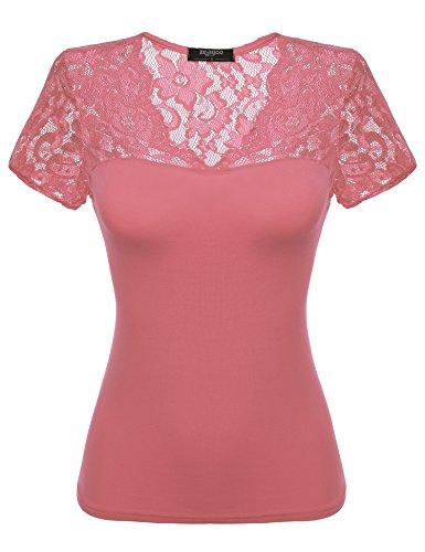 Zeagoo Damen Sexy V-Ausschnitt Shirt mit Spitze Kurzarm Slim Fit T-Shirt Top Bluse Rosa