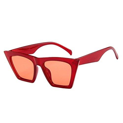 Amcool Mode Damen Übergroße Sonnenbrille Vintage Retro Cat Eye Sonnenbrille (Rot)