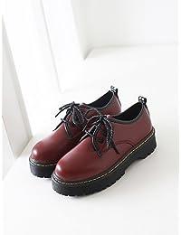 NJX/ hug Zapatos de mujer - Tacón Plano - Comfort / Punta Redonda - Oxfords - Exterior / Casual - Semicuero - Negro / Blanco / Bermellón , white-us6 / eu36 / uk4 / cn36 , white-us6 / eu36 / uk4 / cn36