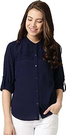 J B Fashion Women's Plain Regular Fit Top (W1125_S_Blue)
