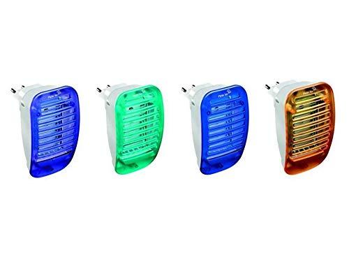 Plein Air Zap Speedy Insect Killer Elettroinsetticida moustiques Mouches avec Lampe à LED de 1 W Prise électrique lumière de courtoisie EI-s-c Blu/Viola/Giallo/Verde (1x4)