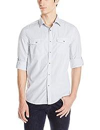 Kenneth Cole Men's Double Pocket Mini Check Shirt