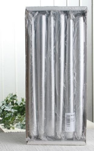 12er-Sparpack Premium-Spitzkerzen 25 x 2,3 cm Ø, Silber