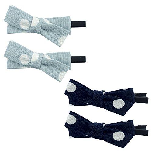 HAND Paire de Barrettes de Tissu en Pointillés Joli et Élégant Bow Cheveux Clip - 6 x 2,5 cm