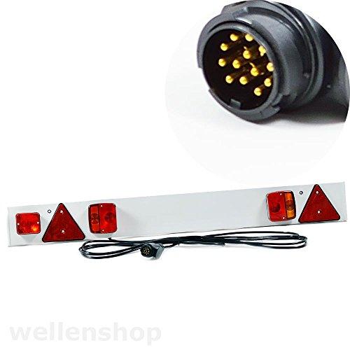 12V Lichtleiste 122 cm, inkl. E-Prüfzeichen, für Deutschland zugelassen, 6m Kabel, 13-poliger Stecker, Beleuchtungsträger Anhänger Bootstrailer & Wohnwagen