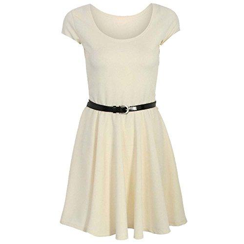 Fashion 4 Less Damen Skater Kleid Crema