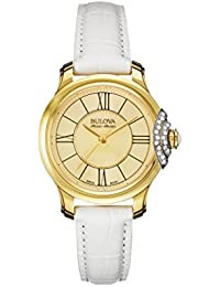 Bulova Accu Swiss Bellecombe Women's Quartz Watch with Yellow Dial Analogue Display and White Leather Strap 65R163