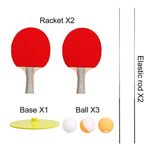Elastic Soft Shaft Tischtennistrainer Elastic Rod 90CM Dekompressions-Augentrainingsball mit 2 Tischtennispaddeln und 3 Tischtennisbällen für den Indoor-Outdoor-Sport Freizeit-Dekompressionssport