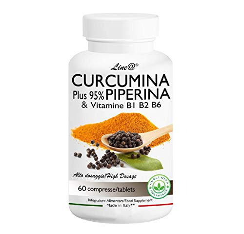 CURCUMINA Plus 95% | CURCUMINOIDI 950 MG | 100% NATURALE Curcuma e Piperina - potenziata con PIPERINA 1000 mg Alto Dosaggio (60 CPR) 20 VOLTE PIU' EFFICACE! Prodotto ITALIANO