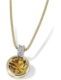 Goldmaid Damen-Halskette 9 Karat 375 Gelbgold 1 Citrin 2 Diamanten 0,02 ct. Fa C2944GG375 Kettenanhänger Schmuck Diamantkette