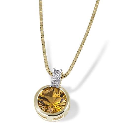 Goldmaid Damen-Halskette 585 Gelbgold 1 Citrin gelb 2 Diamanten Kettenanhänger Schmuck Diamantkette (Diamant-halskette 1 2 Karat)