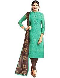 Applecreation Women's Cotton Chanderi Salwar Suits Material (green_Salwar Suit_21DMK622_Free Size)