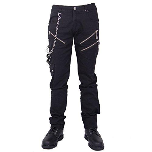 Devil Fashion Punk Pantalones Vaqueros Hombre Negro, Steampunk Gotico Hombre Largo Jeans Skinny (S)