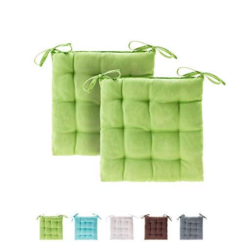 Etérea Basic Sitzkissen für Innen- und Außenbereich 40x40 cm Apfelgrün 2er Set