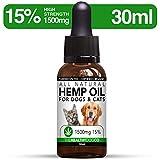 The Healthy Dog Co Hanföl für Hunde & Katzen | 1500 mg (15%) | 30 ml | Tropfen aus Hanfsamen-Extrakt Volles Spektrum | Für Angst, Stress & Schlaf | Natürlich & Bio | 0% THC Nahrungsergänzungsmittel