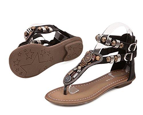 Donna Sandali Rhinestone Di Modo Dei Sandali Della Spiaggia Di Estate Flat Scarpe Casual Clip Toe Con Perlina Roman Nero