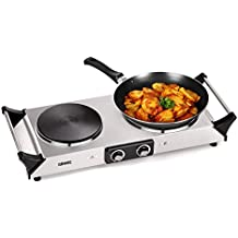 Duronic (Renewed) HP2SS 2500W Black (1500W & 1000W) Portable Cooker | Table Top | Cooktop | Hot Plate | Boiling Hob with Handles