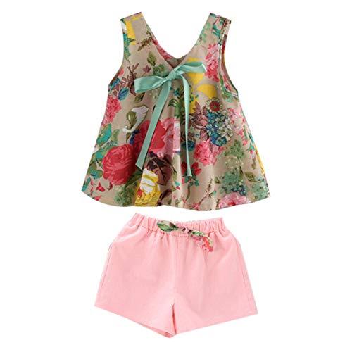 Été Enfants Filles Tenues sans Manches col v Robe Mode Impression Florale Robe Tenue de soirée décontractée Beach avec Un Short - Multicolor 100 Sanzhileg