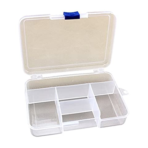 Zhhlaixing Clear White 5 Compartments Adjustable Plastic Storage Box/ Jewel Case/ Tool Container