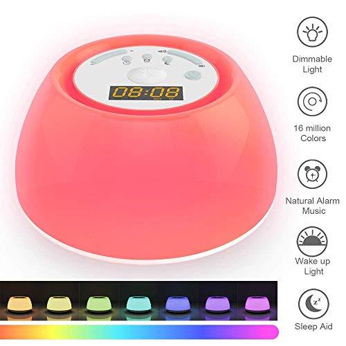 VISTANIA Wake Up Light, Sunrise Alarm Clock White Noise Machine, Sunrise Simulator, USB Charger, Sleep Timers, 7 Multicolor Dimmable Night Light