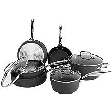 Cooksmart Kingbox - Juego de ollas y sartenes de aluminio anodizado duro antiadherente (10 unidades