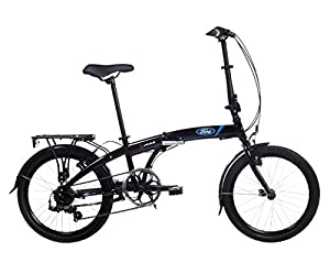 Ford Unisex S-Max Folding Bike, Gloss Black, Medium by Direct365 Ltd