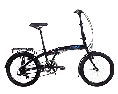 Ford S-Max, Unisex Folding Bike, 7 Speed, 20-Inch Wheel, Gloss Black