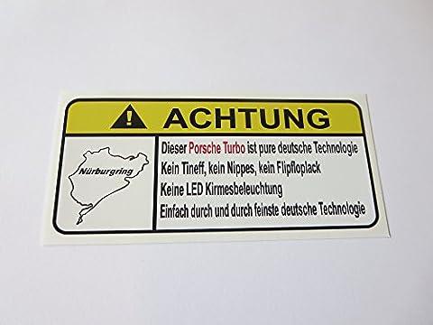 Porsche Turbo Pure Deutsche Technologie Lustig Warnung Aufkleber Decal Sticker